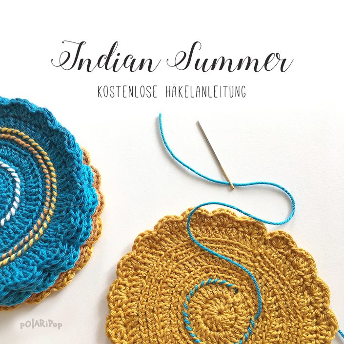 Indian Summer Coasters - kostenlose Häkelanleitung von POLARIPOP