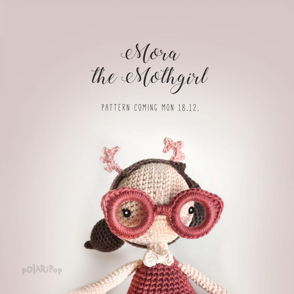 Mora the Mothgirl, Amigurumi crochet pattern by Polaripop