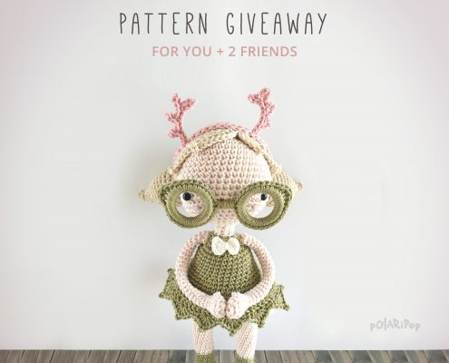 Amigurumi pattern giveaway - Mora the Mothgirl (DE+EN) - designed by POLARIPOP