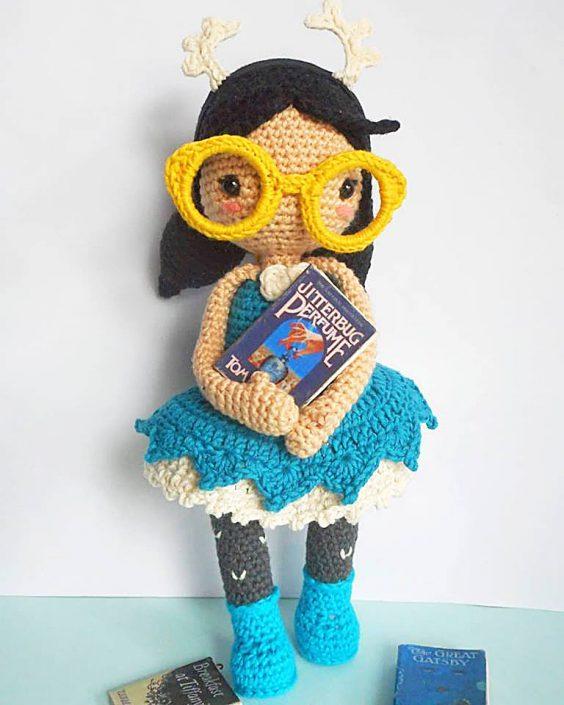 Mora the Mothgirl - crocheted by Yum Yarn - Amigurumi Pattern by Polaripop